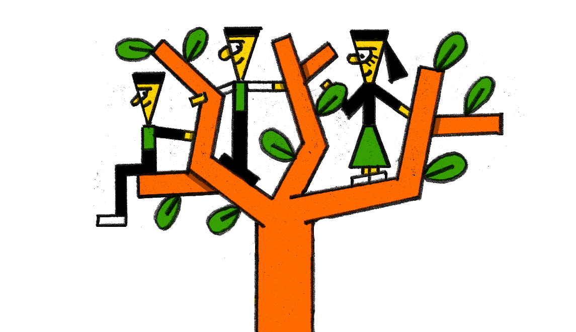 A tree with people in it