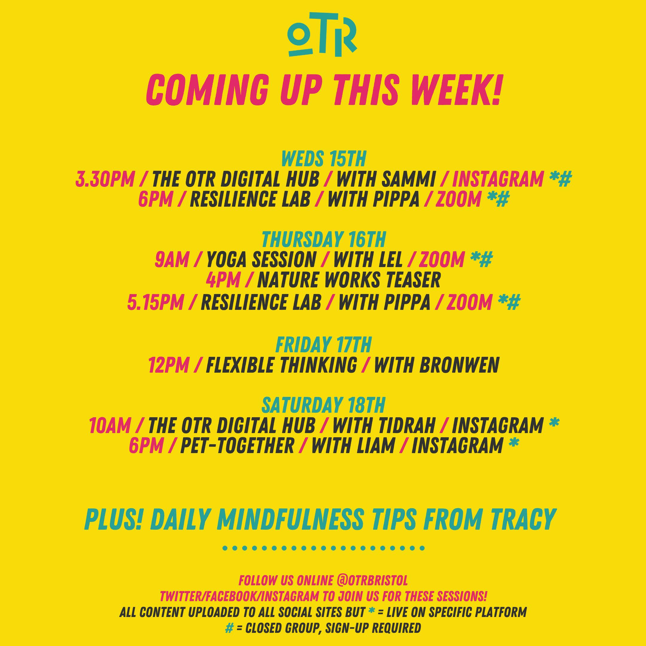 OTR's weekly schedule, w/c 13th April