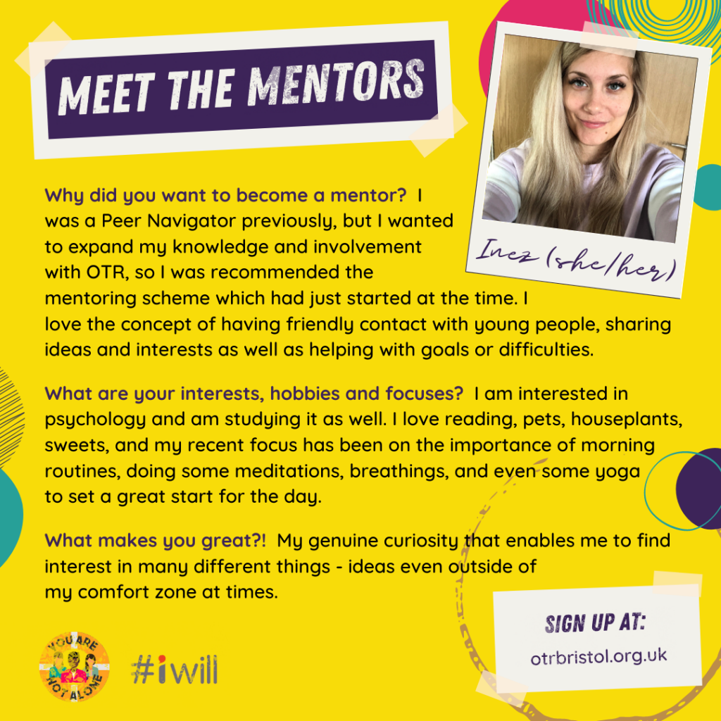Meet the Mentors: Inez(she/her). Inez has long blonde hair and smiles at the camera in a selfie type pose.